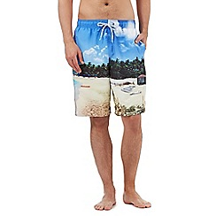 Red Herring - Big and tall blue photographic beach print swimming shorts