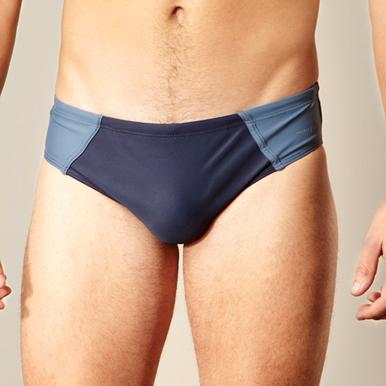 Designer navy panelled swimming briefs