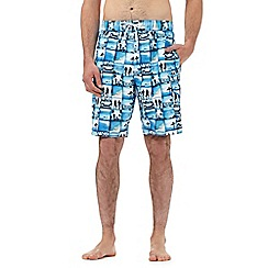 Red Herring - Big and tall blue square beach scene print swim shorts