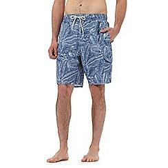 Red Herring - Big and tall blue leaf print swim shorts