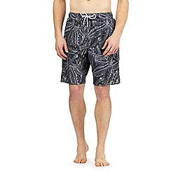 Red Herring - Big and tall black leaf print swim shorts