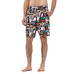 Red Herring - Multi-coloured city print swim shorts