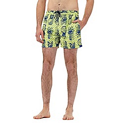 Red Herring - Big and tall yellow and blue pineapple print swim shorts