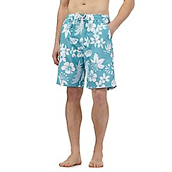 Maine New England - Big and tall aqua floral print swim shorts
