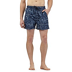 Maine New England - Big and tall blue boat print swim shorts