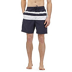 Maine New England - Navy colour block striped swim shorts