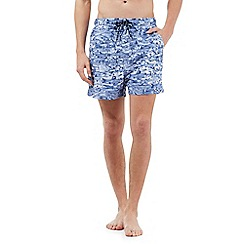 Maine New England - Big and tall aqua fish print swim shorts