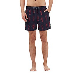 Maine New England - Big and tall navy lobster print swimming shorts