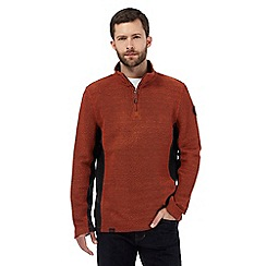 Weird Fish - Dark orange macaroni zip neck jumper