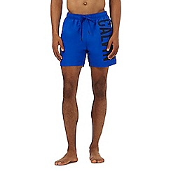 Calvin Klein - Bright blue logo print swim shorts