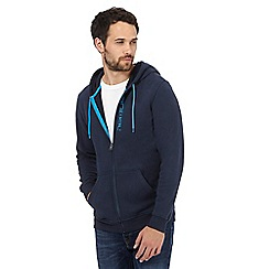 Animal - Big and tall navy logo detail zip through hoodie