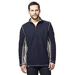 Weird Fish - Navy fleece lined textured jumper