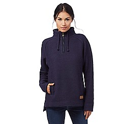 Weird Fish - Navy macaroni texture zip neck sweater
