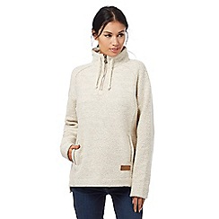 Weird Fish - Cream macaroni texture zip neck sweater