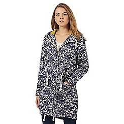 Weird Fish - Navy blue floral showerproof coat
