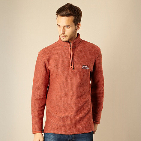 Weird Fish - Terracotta Macaroni zip neck sweatshirt