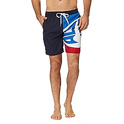 Animal - Navy logo print swim shorts