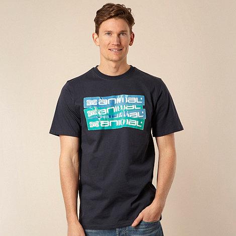 Animal - Navy diagonal logo printed t-shirt