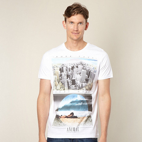 Animal - White double photo printed t-shirt