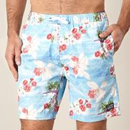 Light blue tropical swim shorts