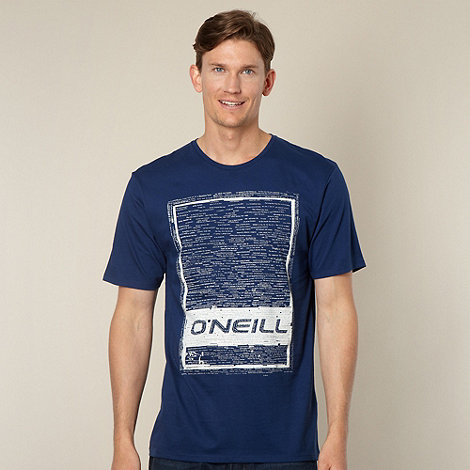 O+Neill - Navy ripped words logo t-shirt