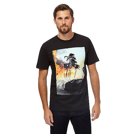 Quiksilver big and tall black tropical print t shirt for Big and tall printed t shirts