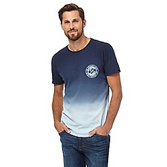 Quiksilver - Navy logo print ombre t-shirt