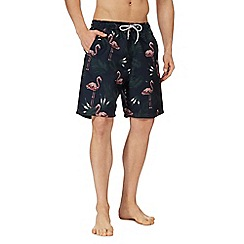 Mantaray - Navy flamingo print swim shorts