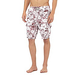 Mantaray - Dark red floral print swim shorts