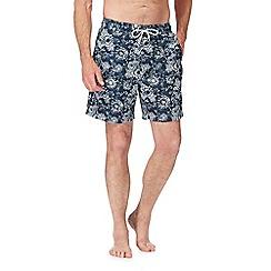 Mantaray - Big and tall navy floral print swim shorts