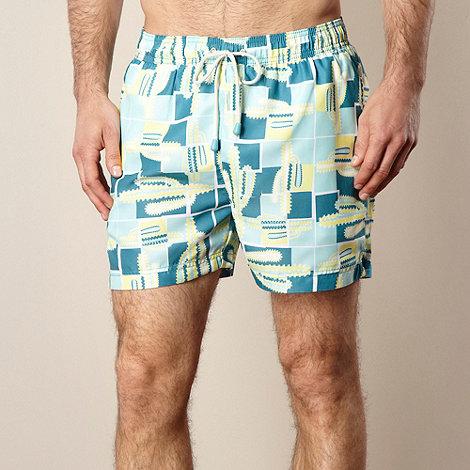 Oiler & Boiler - Turquoise cactus printed swim shorts