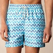 Blue zig zag patterned swim shorts