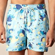 Blue painted fish swim shorts