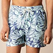 Navy leaf patterned swim shorts