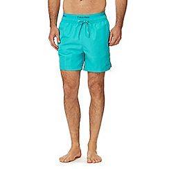 Calvin Klein - Turquoise double waistband swim shorts