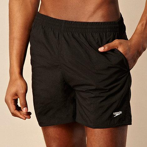 Speedo - Black logo embroidered swim shorts