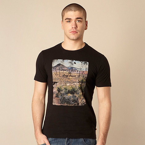 Protest - Black slim fitting desert printed t-shirt