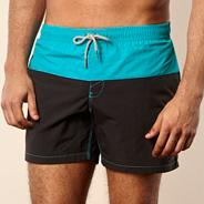 Black cut and sew colour block swim shorts