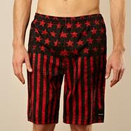 Black stars and stripes swim shorts