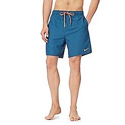 Nike - Dark turquoise printed logo swim shorts