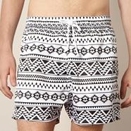 Black monochrome aztec swim shorts