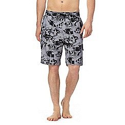 Red Herring - Black and grey skull print swim shorts