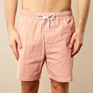 Orange textured striped swim shorts