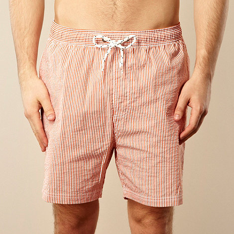 Maine New England - Big and tall orange textured striped swim shorts