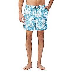 Maine New England - Big and tall turquoise floral print swim shorts