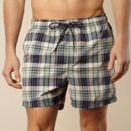 Navy checked swim shorts