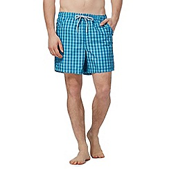 Maine New England - Big and tall light blue gingham check shorts