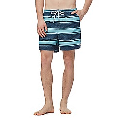 Maine New England - Light turquoise stripe print swim shorts