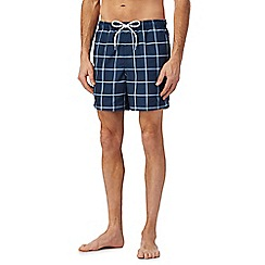 Maine New England - Big and tall navy window pane swim shorts