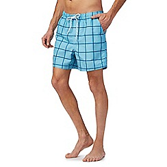 Maine New England - Big and tall light blue window pane swim shorts